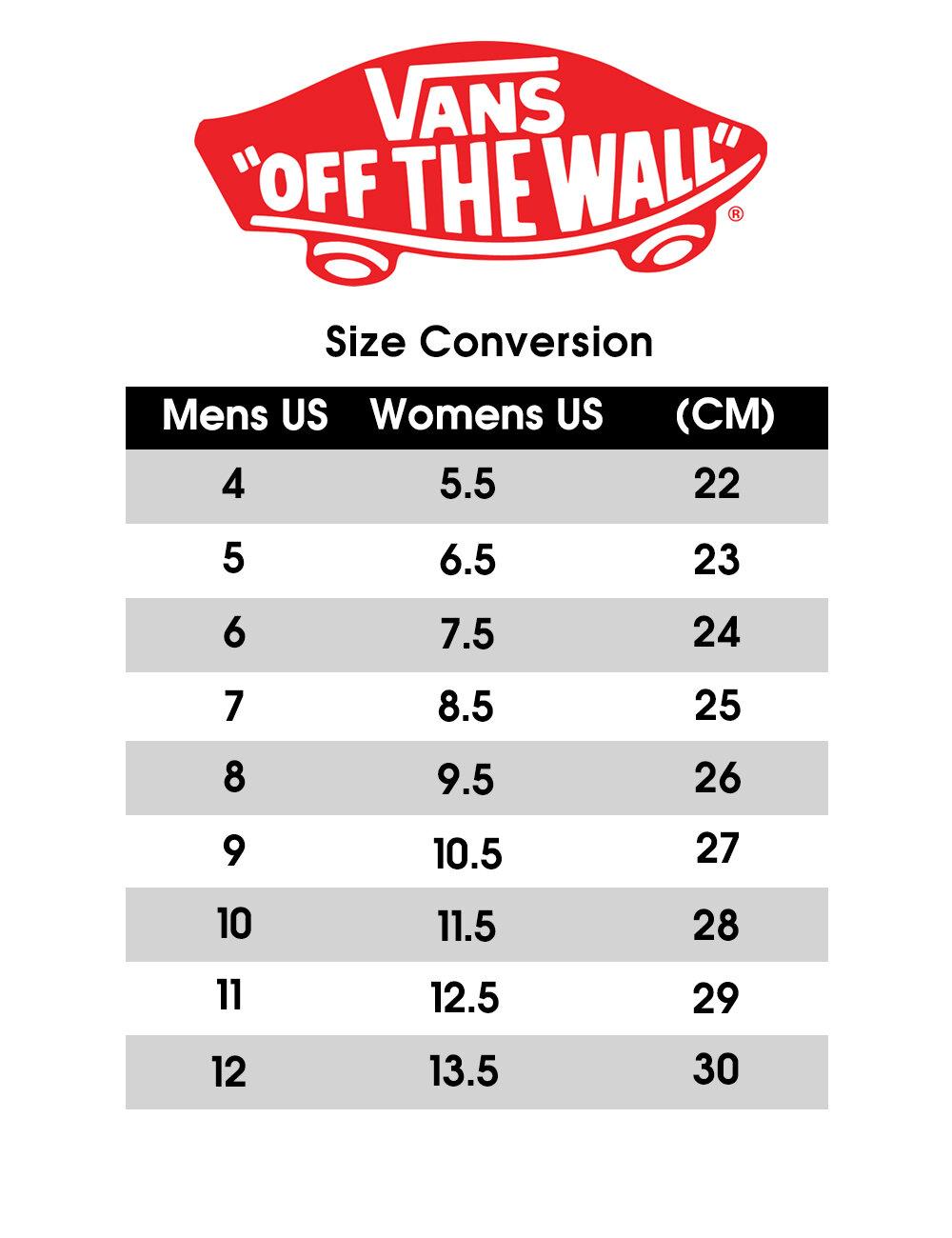 vans kids size guide