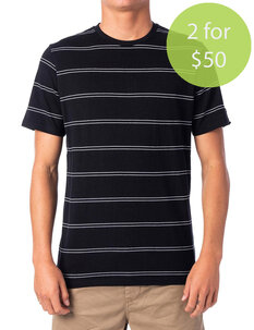 2FOR50 PLAIN STRIPE TEE - BLACK-mens-Backdoor Surf