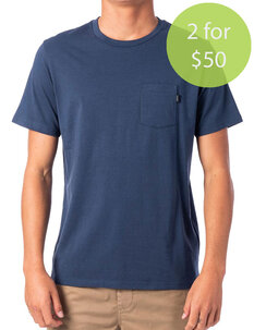 2FOR50 PLAIN POCKET TEE - NAVY-mens-Backdoor Surf