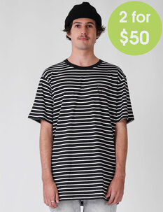 MENS STRIPE DAILY TEE-mens-Backdoor Surf
