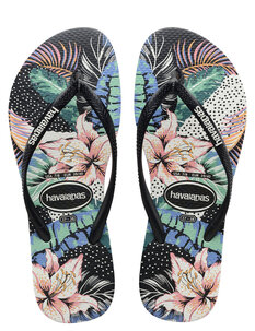 SLIM FLORAL DOTS - BLACK-footwear-Backdoor Surf